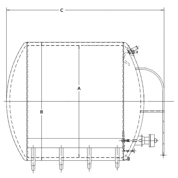 Round Horizontal Storage Tank